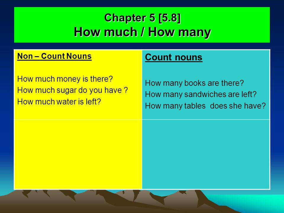 Chapter 5 [5.8] How much / How many